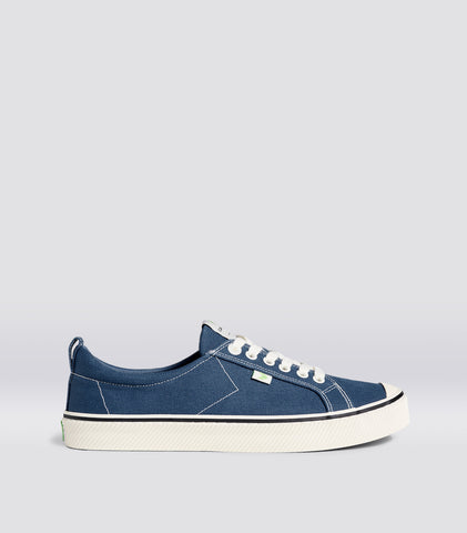 OCA Low Stripe Shadow Blue Canvas Contrast Thread Sneaker Men