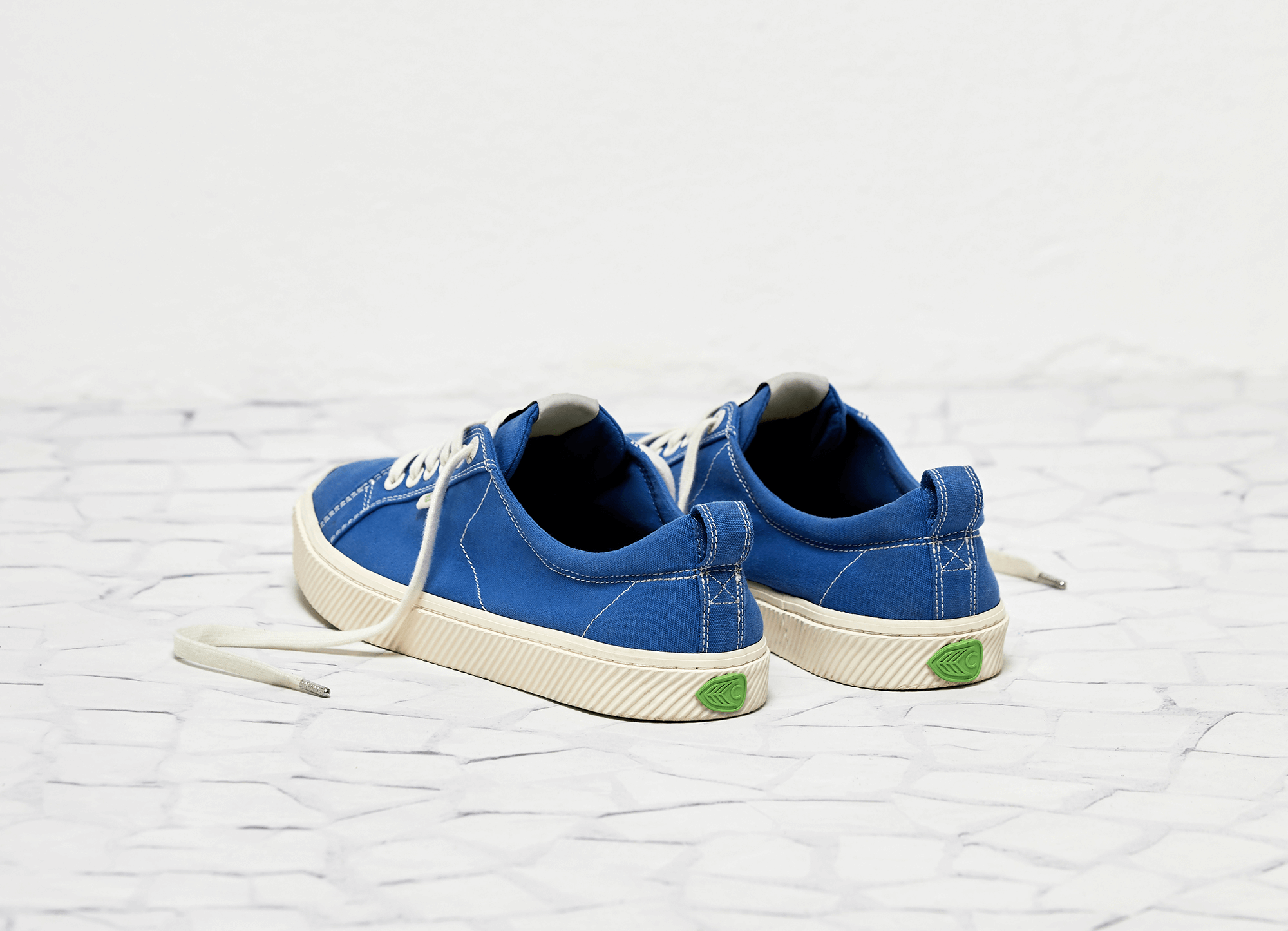 OCA Low Washed Blue Canvas Contrast Thread Sneaker Men