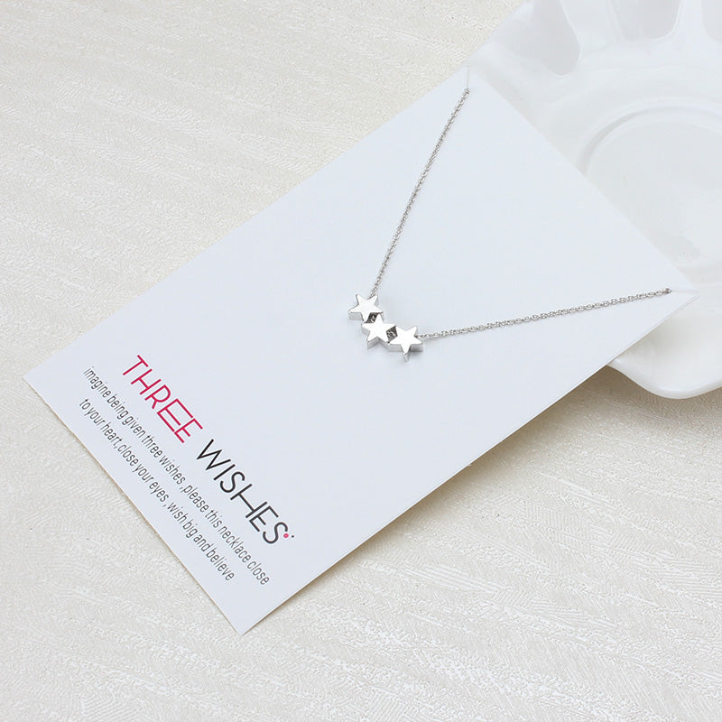 Three Wishes Triple Star Charm Necklace