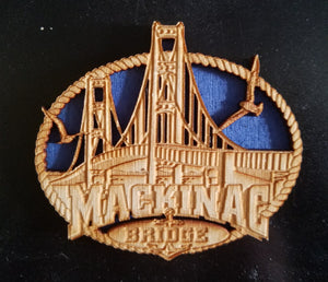 Mackinac Bridge Wood Magnet