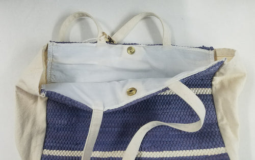 Indigo and White Striped Tote Bag