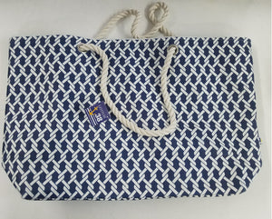 Blue and White Twisted Rope Tote Bag