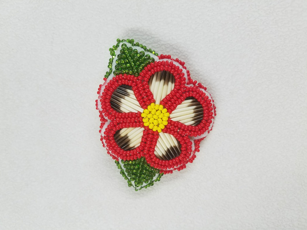 Vintage Ojibway Hand-Made Bead and Quill Flower Barrette