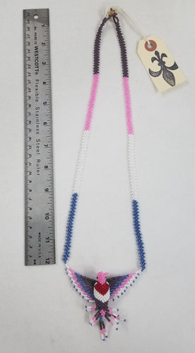 Pink, Blue, White, and Purple Small Hummingbird Necklace