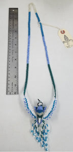 Blue, White and Green Large Hummingbird Necklace