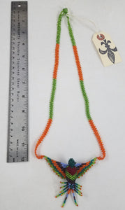 Orange, Green, and Purple Hand-Beaded Small Hummingbird Necklace
