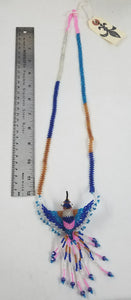 Blue, Tan, Pink, and White Hand-Beaded Large Hummingbird Necklace