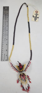 Plum, Gold, and Red Hand-Beaded Large Hummingbird Necklace