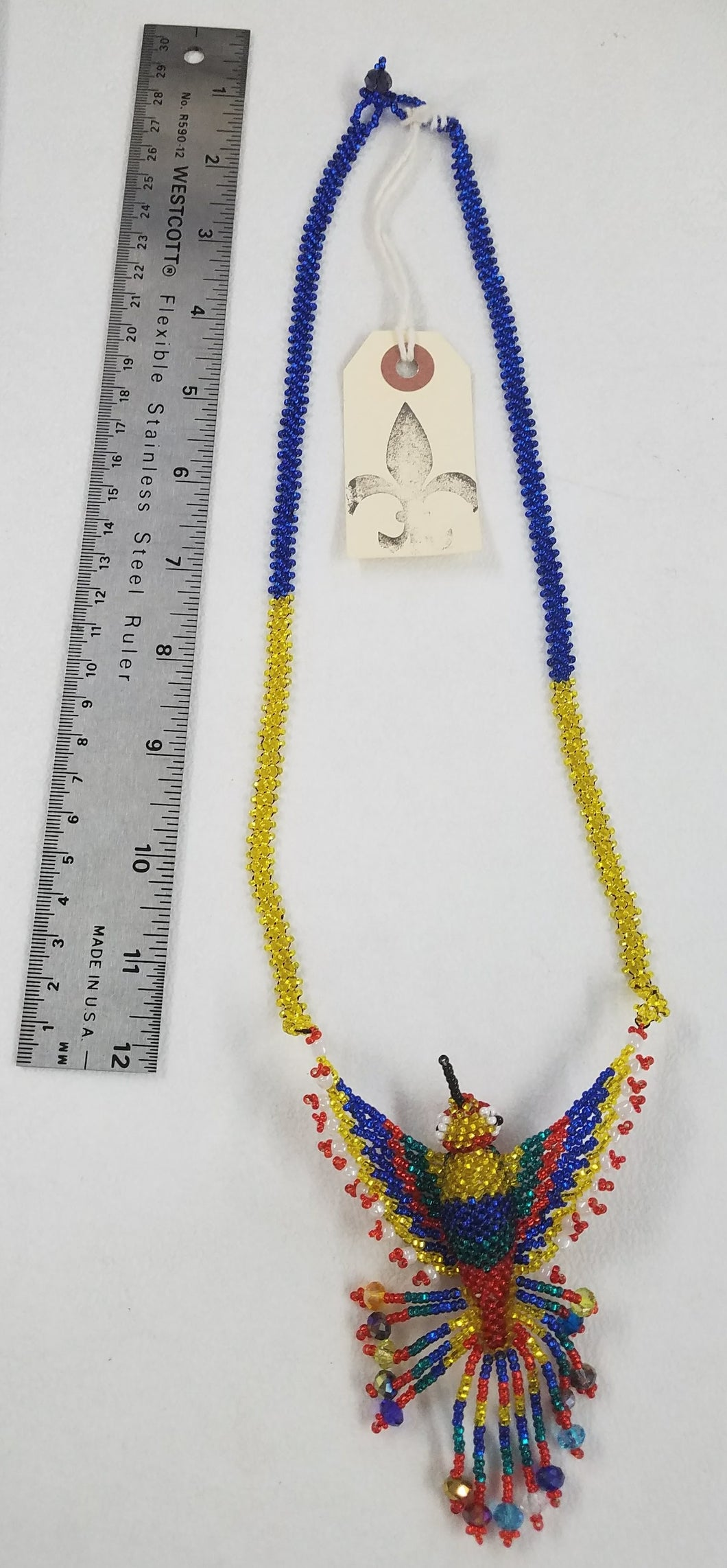 Red, Green, Yellow, and Blue Hand-Beaded Large Hummingbird Necklace