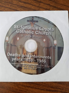 St. Ignatius Loyola Catholic Church Deaths and Internment Years 1838-1986 CD