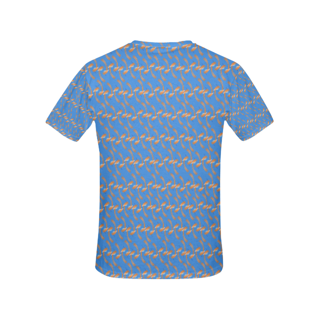Small Birdie Print Blue T Shirt