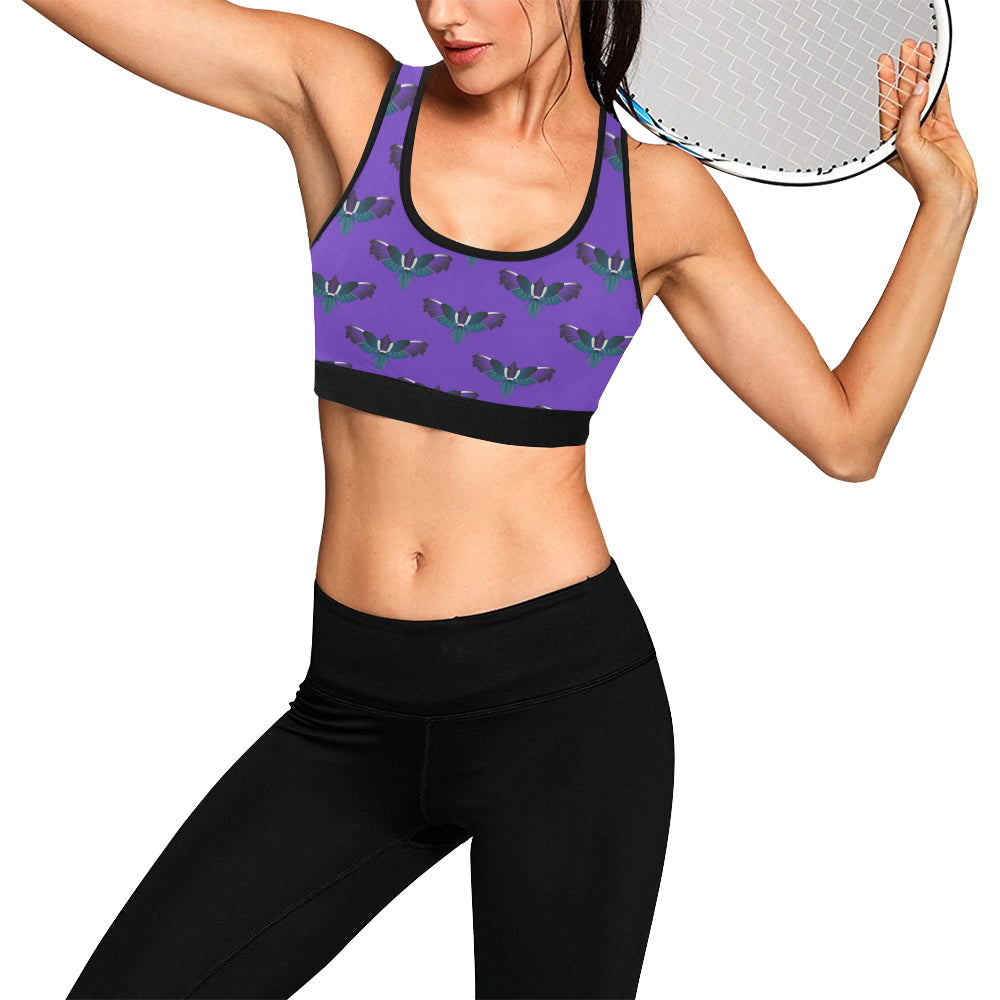 Magpie Print Purple Sports Bra