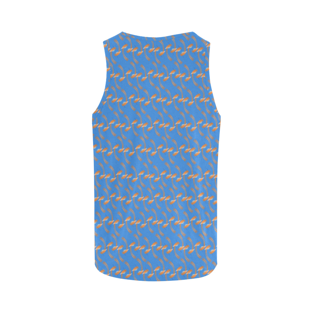 Small Birdie Print Blue Tank Top