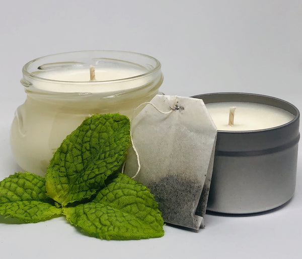 mint tea candle