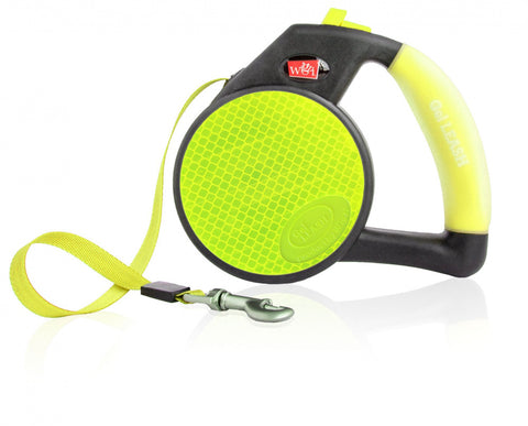 Wigzi Gel Handle Reflective Tape Yellow Retractable Dog Leash