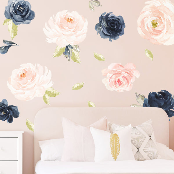 Blush & Navy Peonies - Stickaroo Wall Decor