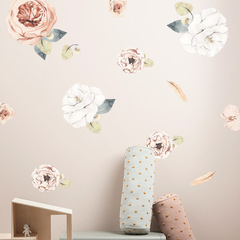 Blush & White Flowers - Stickaroo Wall Decor