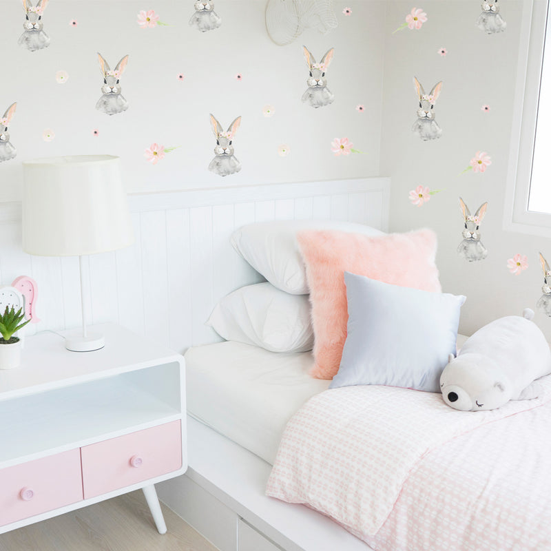 Bunny Floral - Stickaroo Wall Decor