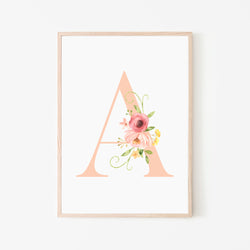 Floral Letter Blush - Stickaroo Wall Decor