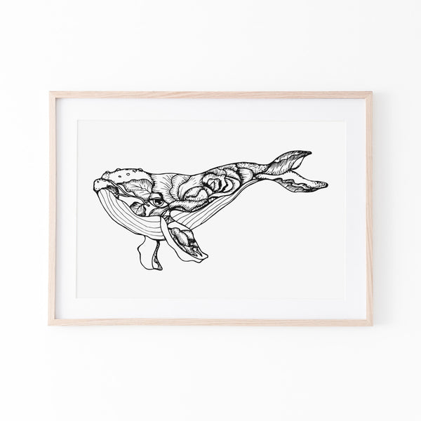Floral Whale Print - Stickaroo Wall Decor