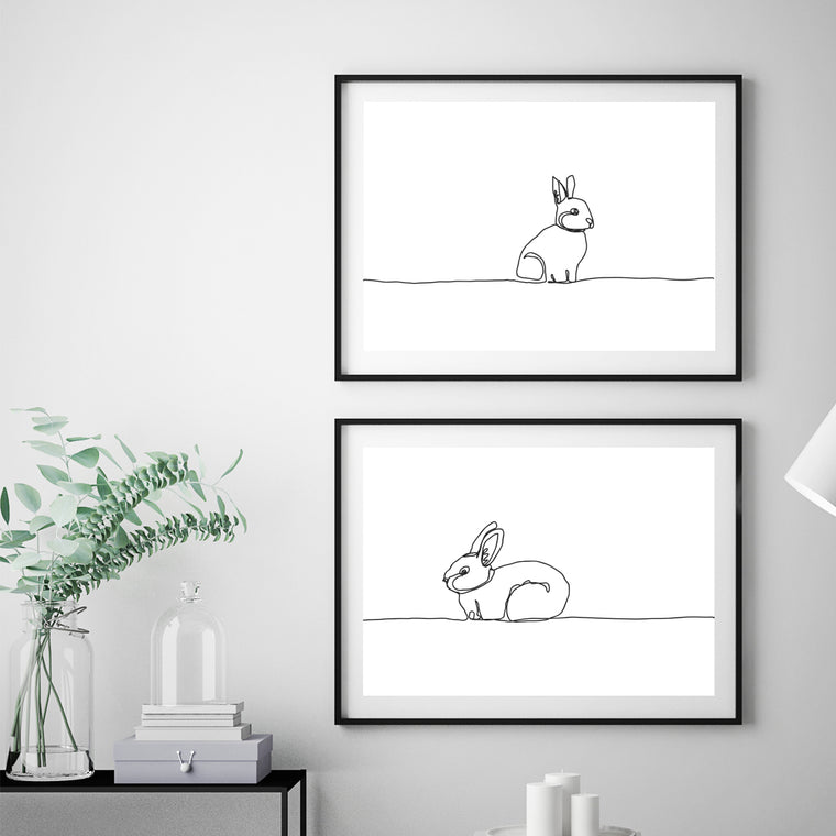 Linear Bunnies Print Set