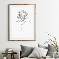 Linear Protea Print - Stickaroo Wall Decor