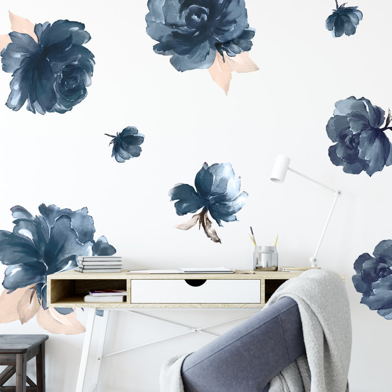 Midnight Peonies - Stickaroo Wall Decor