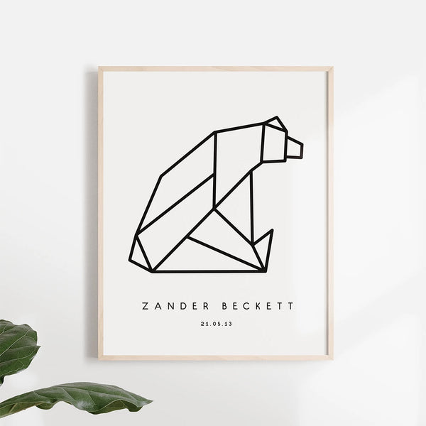 Origami Bear Poster - Stickaroo Wall Decor
