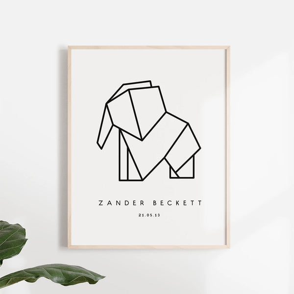 Origami Elephant Poster - Stickaroo Wall Decor