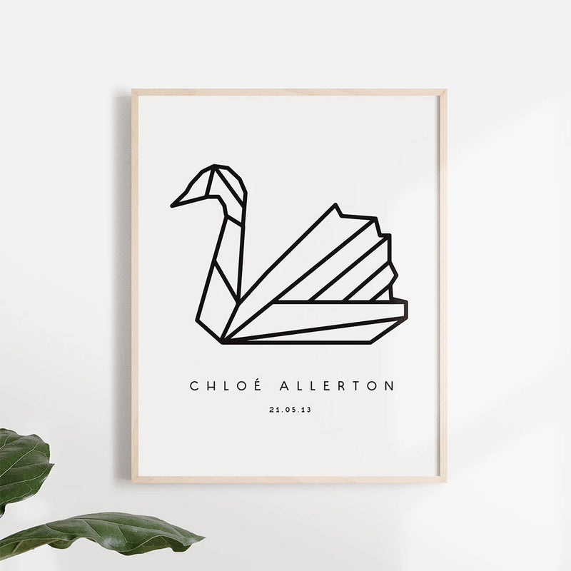 Origami Swan Poster - Stickaroo Wall Decor