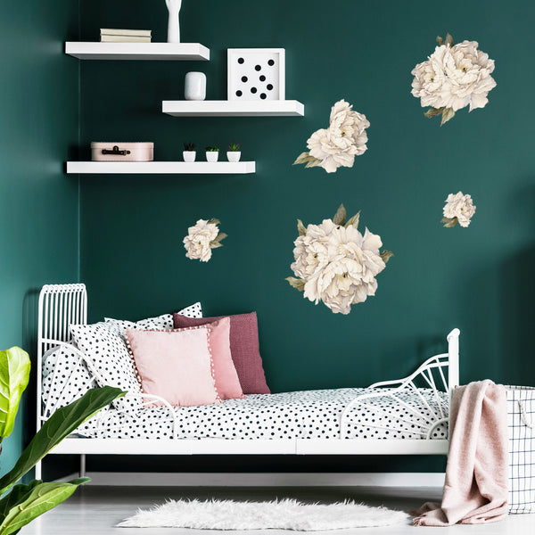 Peonies - Cream - Stickaroo Wall Decor