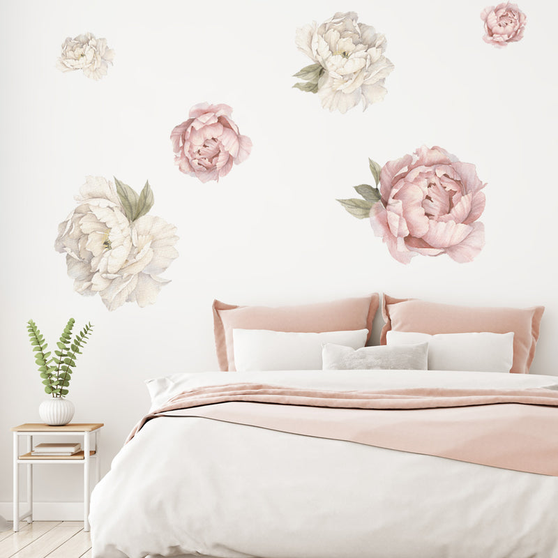 Peonies - Cream & Pink - Stickaroo Wall Decor