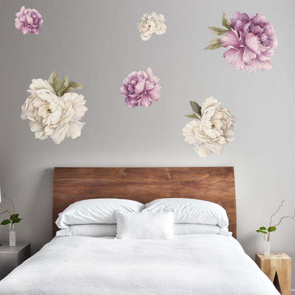 Peonies - Cream & Purple - Stickaroo Wall Decor