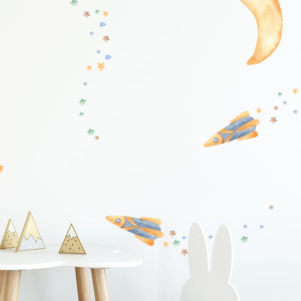Rockets & Moon - Stickaroo Wall Decor