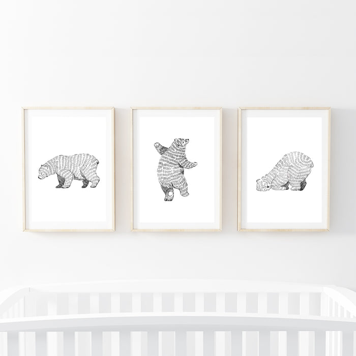 Three Furry Bears Print Set
