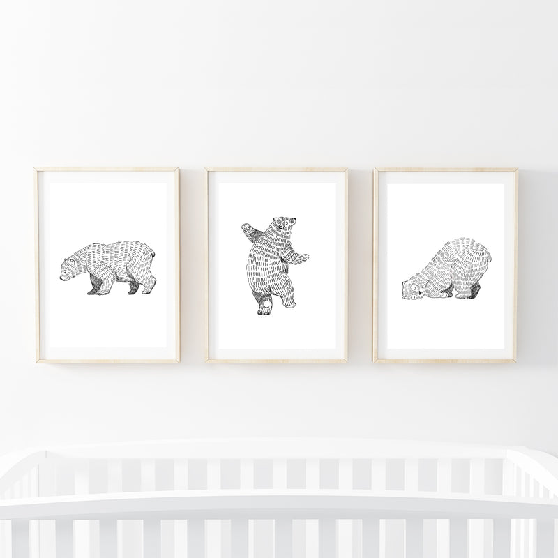 Three Furry Bears Print Set - Stickaroo Wall Decor