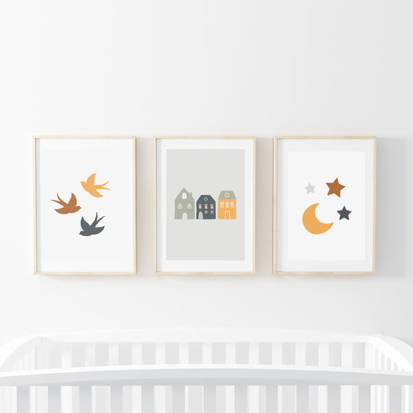 Town & Skies Print Set - Stickaroo Wall Decor