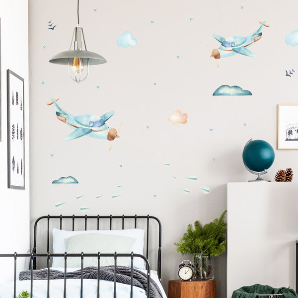 Watercolour Planes - Stickaroo Wall Decor