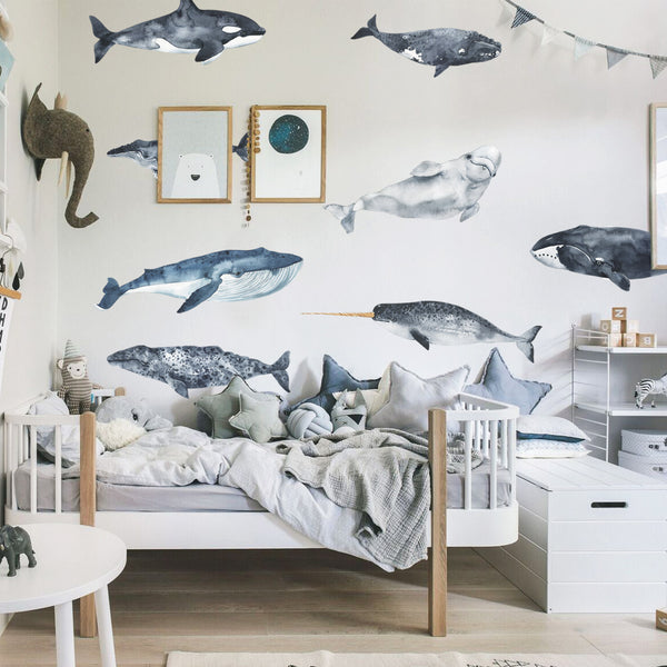 Watercolour Whales - Stickaroo Wall Decor