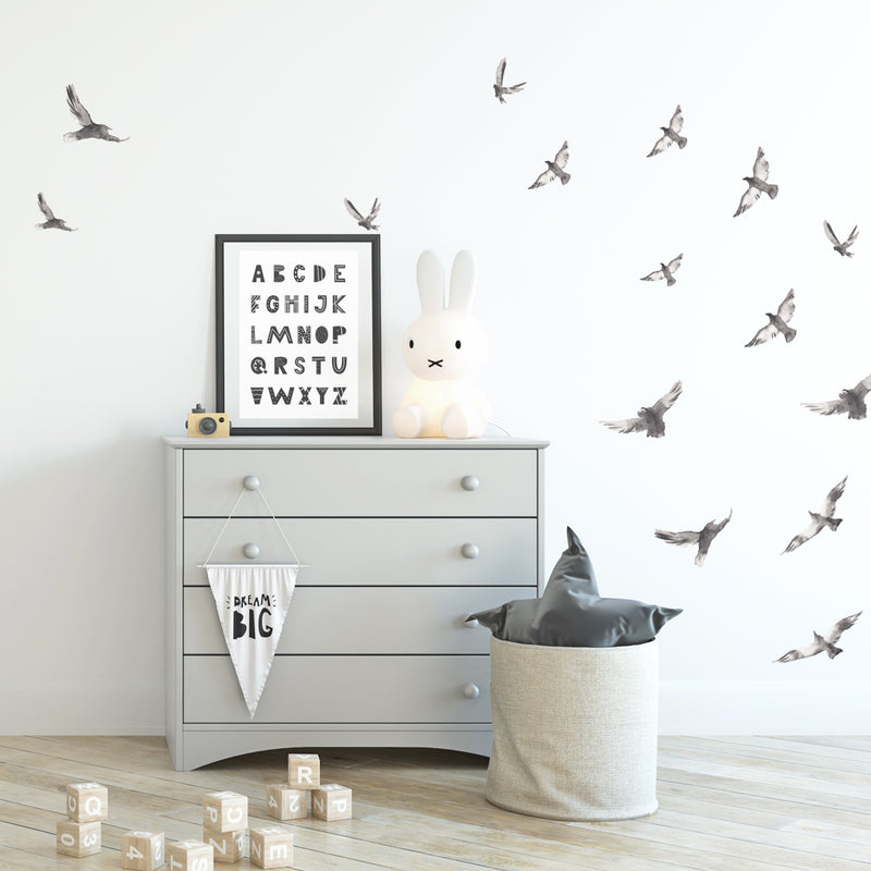 Watercolour Ravens - Stickaroo Wall Decor