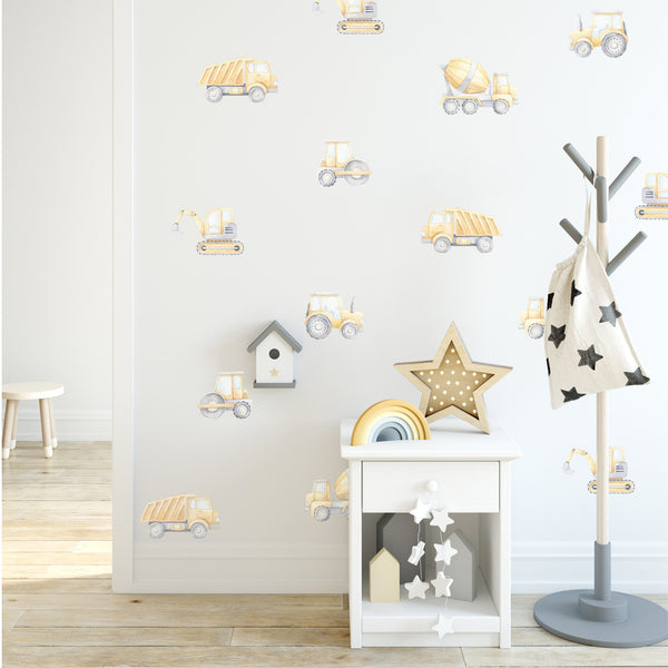 Watercolour Construction Pattern - Stickaroo Wall Decor