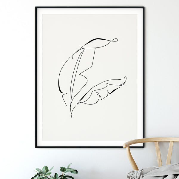 Outline Leaf Print - Stickaroo Wall Decor