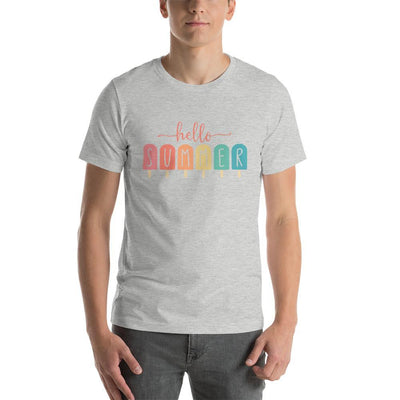 Leanne & Co. Apparel Athletic Heather / S Hello Summer Popsicles Adult Short-Sleeve Unisex T-Shirt