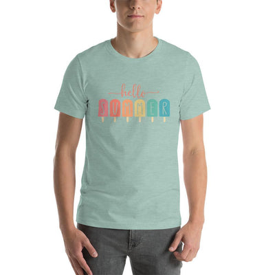 Leanne & Co. Apparel Heather Prism Dusty Blue / XS Hello Summer Popsicles Adult Short-Sleeve Unisex T-Shirt