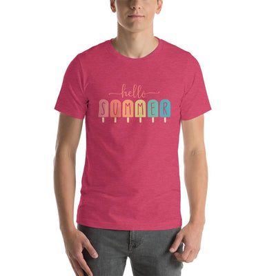Leanne & Co. Apparel Heather Raspberry / S Hello Summer Popsicles Adult Short-Sleeve Unisex T-Shirt