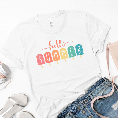 Leanne & Co. Apparel Hello Summer Popsicles Adult Short-Sleeve Unisex T-Shirt