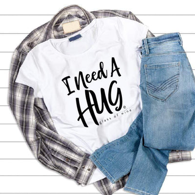 Leanne & Co. Apparel I Need A Hug(e) Glass of Wine Short-Sleeve Unisex T-Shirt
