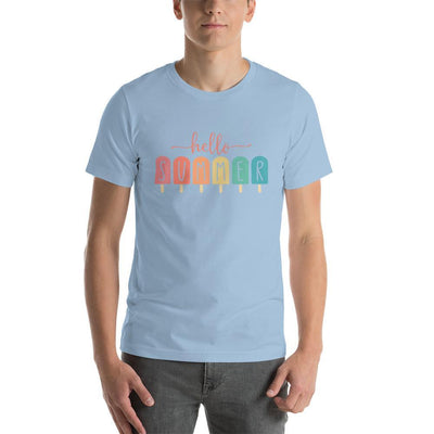Leanne & Co. Apparel Light Blue / XS Hello Summer Popsicles Adult Short-Sleeve Unisex T-Shirt