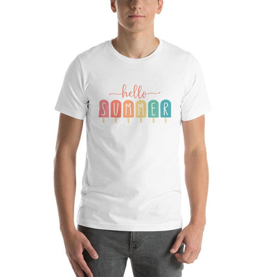 Leanne & Co. Apparel White / XS Hello Summer Popsicles Adult Short-Sleeve Unisex T-Shirt