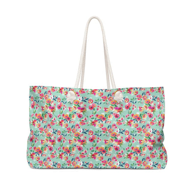 Leanne & Co. Bags 24x13 Teal Floral Weekender Bag